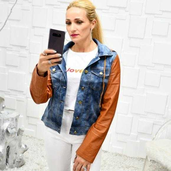JORDAN Denim /faux leather jacket | MODA ME COUTURE