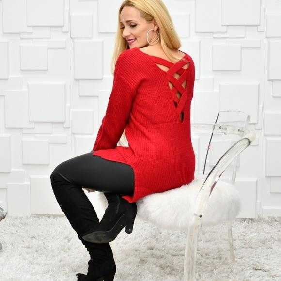 NIKI Cage Back Red Rose Sweater