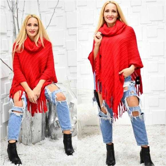 Red Poncho-Sweater-Moda Me Couture ®