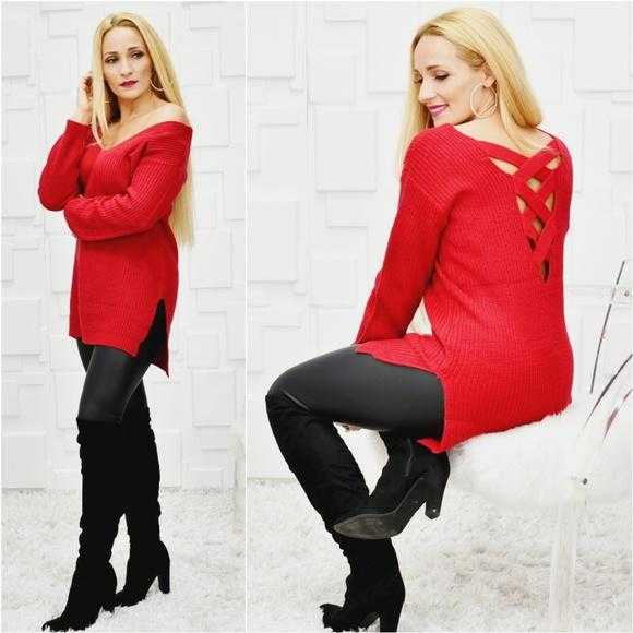 NIKI Cage Back Red Rose Sweater | MODA ME COUTURE