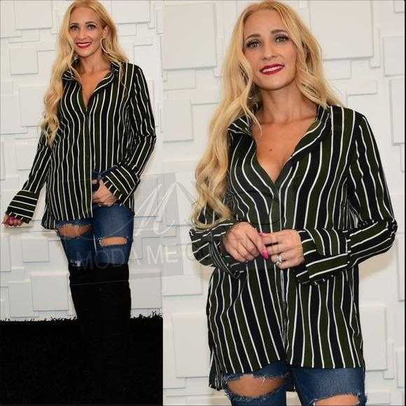Striped Button Down Top Green-Tops-Moda Me Couture