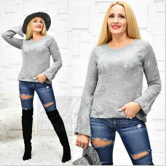 HEATHER Gray Sweater-Sweater-Moda Me Couture