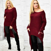 Britney Hi-Low Distress Sweater Burgundy-Sweater-Moda Me Couture