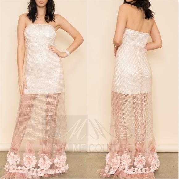 Paris Feather & Sequin Gown-Dress-Moda Me Couture ®