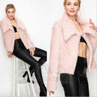 Angie Blush Faux Fur Coat-Jackets & Coats-Moda Me Couture