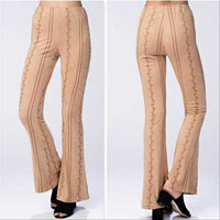 MARLEY Embroidered Suede Pants Tan-Pants-Moda Me Couture