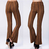 MARLEY Embroidered Suede Pants Brown-Pants-Moda Me Couture