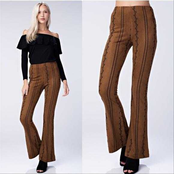 MARLEY Embroiderd Suede Pants