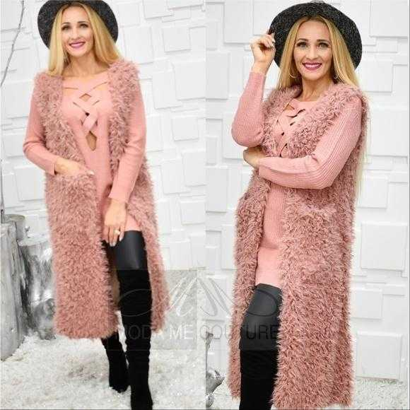 Blush Long Faux Fur Vest-Jackets & Coats-Moda Me Couture