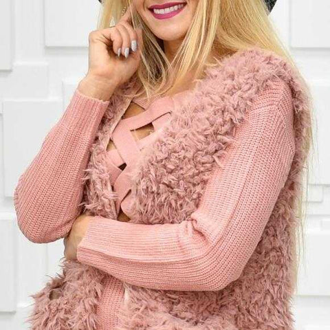BLUSH Faux Fur Full Length Vest
