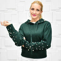 Hunter Green Pearl Detail Hoodie-Sweater-Moda Me Couture