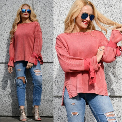 Living Coral Knit Sweater