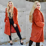 GIA - Burnt Orange Faux Fur Coat | MODA ME COUTURE