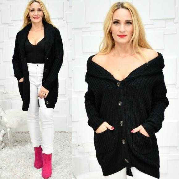 Chunky Knit Black Cardigan-Sweater-Moda Me Couture