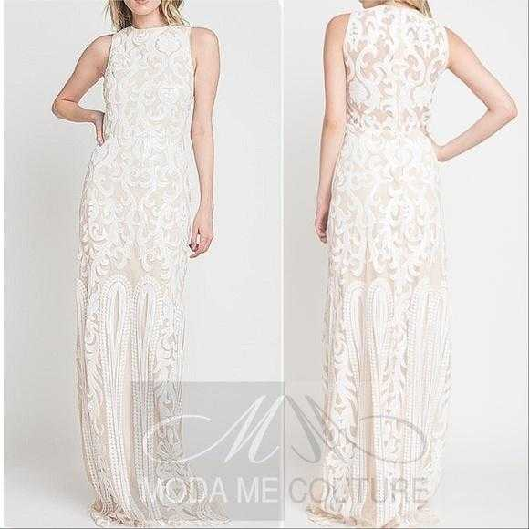 White Sequin Gown-Dress-Moda Me Couture ®
