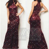 Stunning Sequin Gown Burgundy-Dress-Moda Me Couture