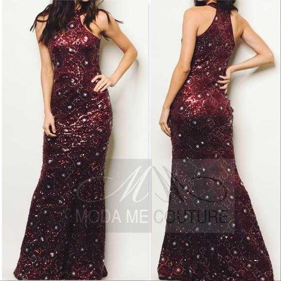 Stunning Sequin Gown Burgundy-Dress-Moda Me Couture ®