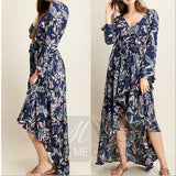 Garden Florals Dress Grey-Dress-Moda Me Couture