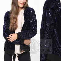 Navy & Sequins Velvet Bomber Jacket-Jackets & Coats-Moda Me Couture