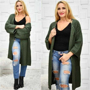 Chunky Knit Green Cardigan
