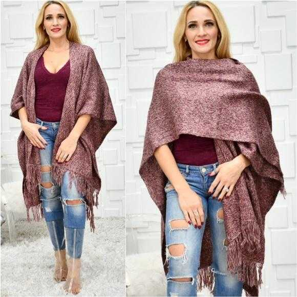 Burgundy Knit Wrap Shrug Poncho-Sweater-Moda Me Couture