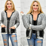 Knit Zip Up Sweater-Sweater-Moda Me Couture ®