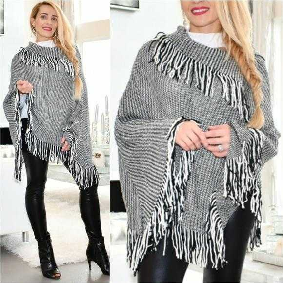 Fringe Detailed Gray Poncho-Sweater-Moda Me Couture