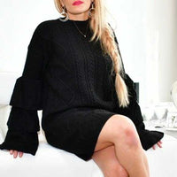 Black Cable Knit Sweater Dress-Dress-Moda Me Couture ®