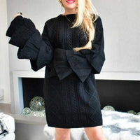Black Cable Knit Sweater Dress | MODA ME COUTURE