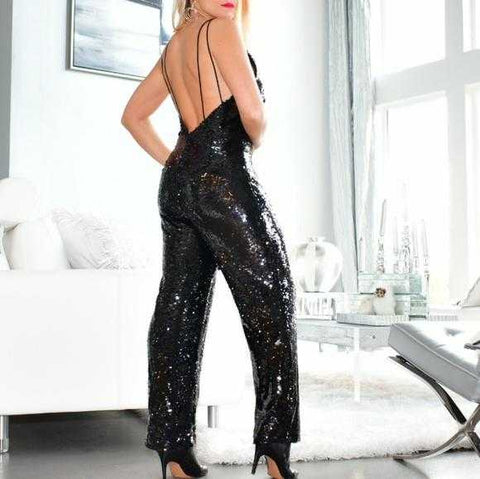 SEXY SEQUIN JUMPSUIT - BLACK | MODA ME COUTURE
