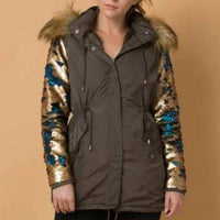 Army Green Parka Sequin Sleeves-Jackets & Coats-Moda Me Couture