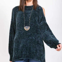 Chenille Cold Shoulder Sweater Black-Sweater-Moda Me Couture