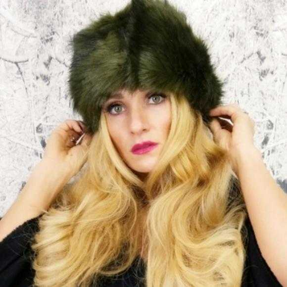 Olive Green Russian Faux Fur Hat-Accessories-Moda Me Couture