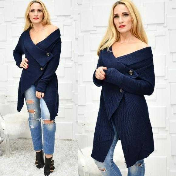 Navy Blue Cardigan-Sweater-Moda Me Couture