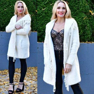 Cream Fuzzy Knit Cardigan