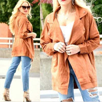 Faux Suede Jacket-Jackets & Coats-Moda Me Couture