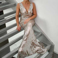 Silver Bella Sequin Dress-Dress-Moda Me Couture