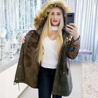 Army Green Parka with Sequin Sleeves | MODA ME COUTURE