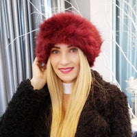 Burgundy Faux Fur Headband-Accessories-Moda Me Couture