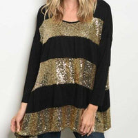 Top Stripes and Sequined-Tops-Moda Me Couture