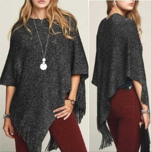 Gray Fringe Detailed Poncho