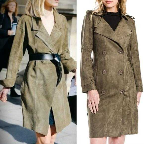 Olive Green Suede Trench coat-Jackets & Coats-Moda Me Couture