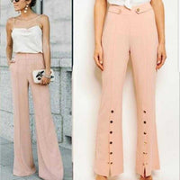 BLUSH BUTTON DETAIL PANTS / TROUSERS | MODA ME COUTURE