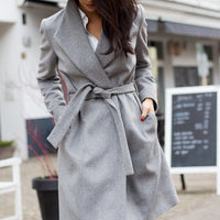 Mia Chic Gray Coat with Faux Fur Collar-Jackets & Coats-Moda Me Couture ®