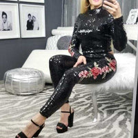Black Embroidered Detailed Sequin Set-Pants-Moda Me Couture