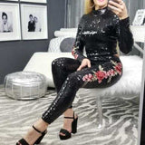 Black Embroidered Sequin Set-Pants-Moda Me Couture