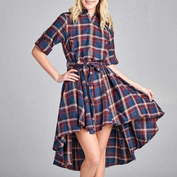 Plaid Dress-Dress-Moda Me Couture