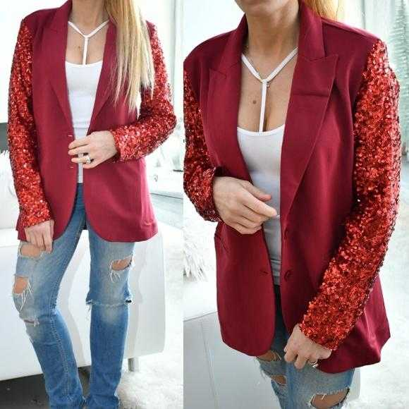 Burgundy Sequinned Sleeved Blazer | MODA ME COUTURE