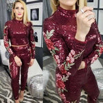 BURGUNDY EMBROIDERED DETAILED SEQUIN SET | MODA ME COUTURE
