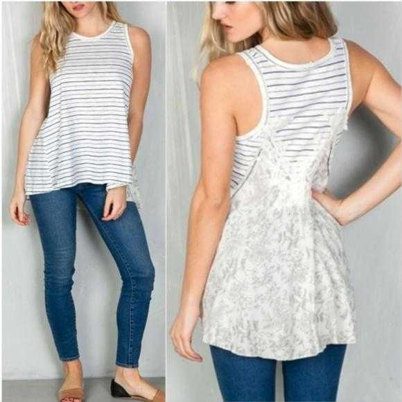 Boho Beauty Stripes & Floral Tank Top-Tops-Moda Me Couture